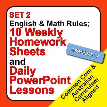 Set 2, English & Math Rules; Weekly Homework Sheets & Powe