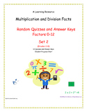 Multiplication and Division Facts (0-12 Random Order) Set #2 Quizzes and Keys