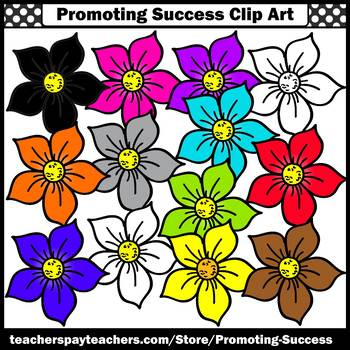 Flowers Clipart Set 2, Primary Colors, Spring Bulletin Boards SPS
