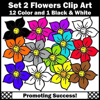 Set 2 Primary Colors Clip Art, Flowers Clipart SPS