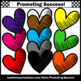 Set 2 Heart Clip Art, Colorful Hearts, Rainbow Clipart, Primary Colors SPS