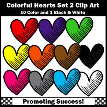 Set 2 Hearts Clipart, Valentine's Day Commercial Use SPS