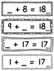 Set 2 - Missing Addend Task Cards or Flashcards (Addition Facts: 10 through 20)