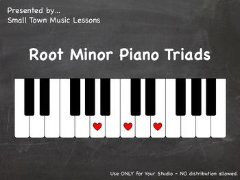 Piano Chalkboard - Minor Root Triads (PDF - 21 slides)