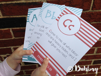 Set #2 of 26 ABC Scripture Bible Verse Memory Flash Cards for Kids! - Printable!