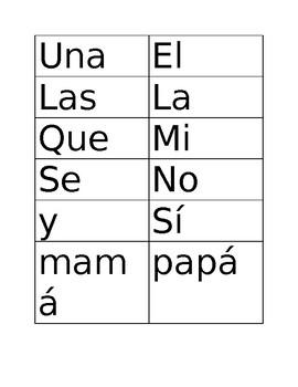 Set 2 of HF words for Kindergarten Bilingual- SPANISH