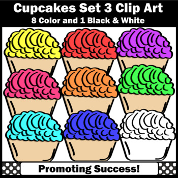 Set 3 Cupcakes Clip Art, Baking Clipart, Cooking Theme Commercial Use SPS