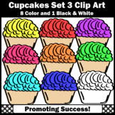Set 3 Cupcakes Clip Art Commercial Use SPS