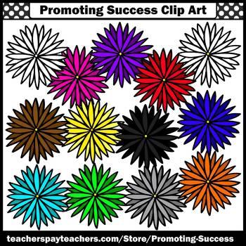 Set 3 Flower Clip Art, Spring or Summer Clip Art, Colorful Flowers Clipart SPS