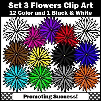 Set 3 Colorful Flower Clipart, Spring Theme SPS