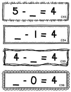 Set 3 - Missing Minuend and Subtrahend Cards (Subtraction Facts within 10)