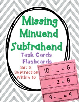 Set 3 - Missing Minuend and Subtrahend Cards (Subtraction