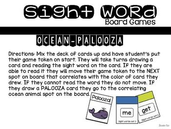 Set 3 Sight Word Board Games: Ocean-Palooza