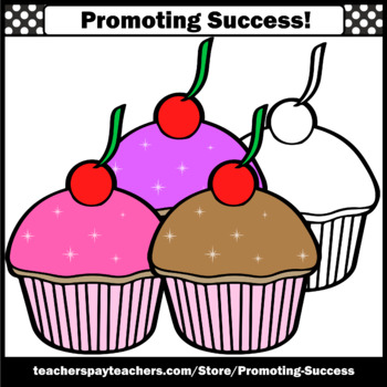 Set 4 Cupcakes Clip Art, Baking Clipart, Cooking Theme Commercial Use SPS