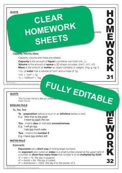 Set 4, English & Math Rules; Weekly Homework Sheets & PowerPoint Lessons.