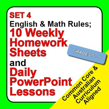 Set 4, English & Math Rules; Weekly Homework Sheets & Powe
