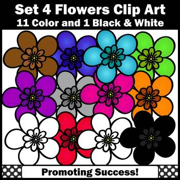 Set 4 Flower Clipart for Spring Bulletin Boards Newsletters SPS