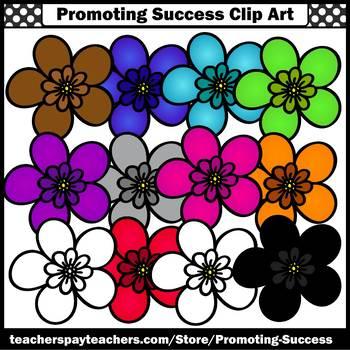 Set 4 Primary Colors Clip Art, Flower Clipart SPS