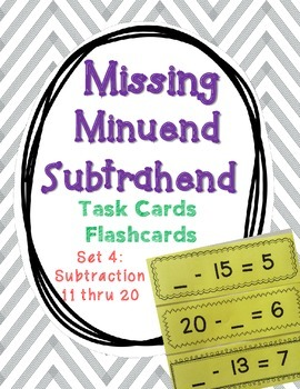 Set 4 - Missing Minuend and Subtrahend Cards (Subtraction