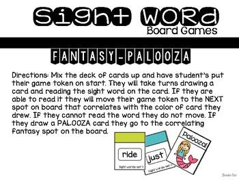 Set 4 Sight Word Board Games: Fantasy-Palooza