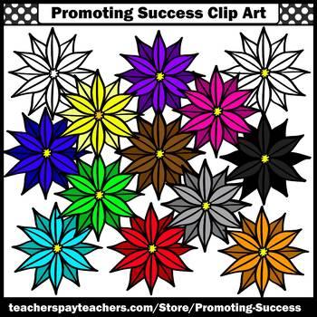 Set 5 Flower Clipart, Primary Colors Clip Art, SPS