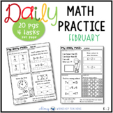 Set 6 FEBRUARY Daily Math Practice and Review Worksheets for First Grade