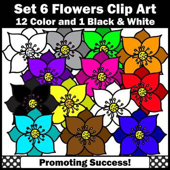 Set 6 Flower Clip Art, Spring or Summer Clip Art, Colorful Flowers Clipart SPS
