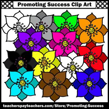 Set 6 Flower Clip Art, Primary Colors Clipart SPS