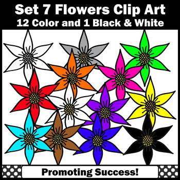 Set 7 Flower Clip Art, Spring or Summer Clip Art, Colorful Flowers Clipart SPS