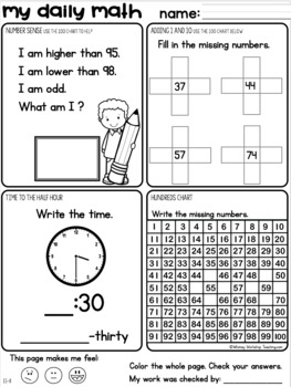 Set 8 APRIL + MAY Daily Math Practice and Review Worksheets for First Grade