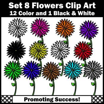 Set 8 Flower Clipart for Spring or Summer Bulletin Boards Newsletters SPS
