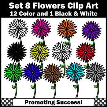Set 8 Primary Colors Clipart, Flowers Clip Art SPS