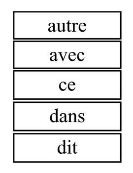 Set A -French High Frequency Wrds Flashcards / Ensemble A -Mots haute frequences