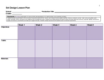 Set Design 8 Week Lesson Plan Template