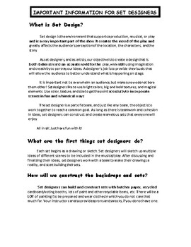 Set Design: What Do Set Designers Do? Handout