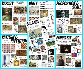 Set Elements and Principles of Design Block Posters Art Classroom Decor Handouts
