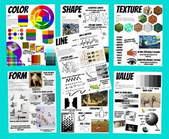 Set Elements and Principles of Design Block Posters Art Classroom Decor Handouts