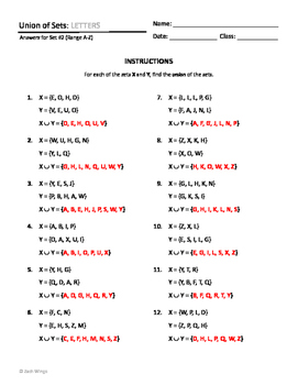 Set Intersection and Union Worksheets - Letters, Numbers, and Alphanumeric