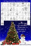 Set Of 42 A4 UK Christmas Colouring Sheets Handouts Printa