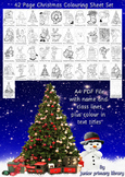 Set Of 42 US Christmas Coloring Sheets Handouts Printables US Letter Size