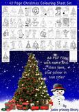 Set Of 42 US Christmas Coloring Sheets Handouts Printables