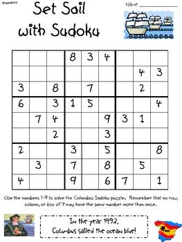 Columbus Day Sudoku for Upper Elementary