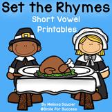 Short Vowel Rhyming (CVC) | Thanksgiving Themed Printables