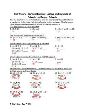 Set Theory - Cardinal Number, Listing and Symbols of Subsets and Proper Subset