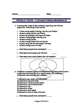 set theory set operations word problems worksheet 2 by mr hughes. Black Bedroom Furniture Sets. Home Design Ideas