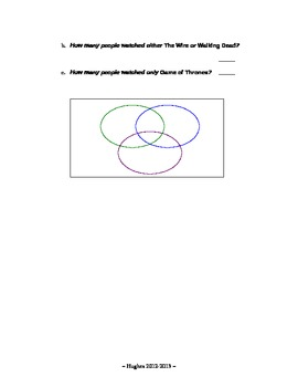 Set Theory - Set Operations Word Problems Worksheet 3