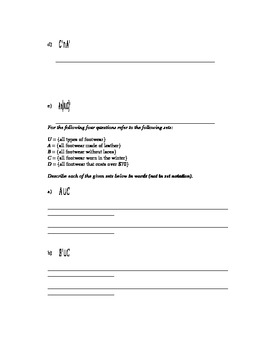 Set Theory - Set Operations Worksheet