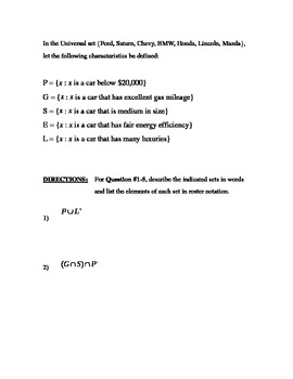 Set Theory - Set Operations Worksheet #2