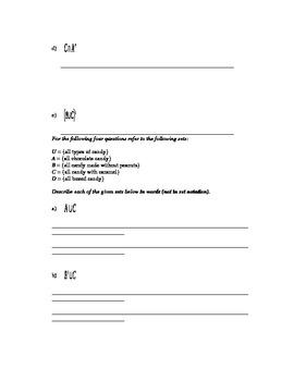 Set Theory - Set Operations Worksheet #3