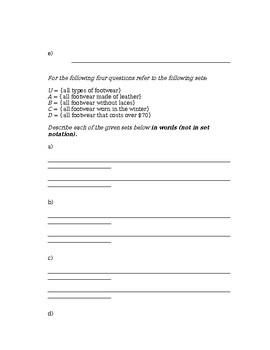 Set Theory - Set Operations Worksheet #5